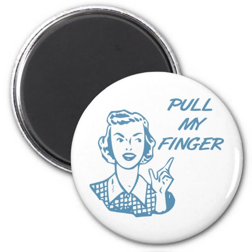 Pull My Finger Retro Housewife Blue Magnets