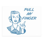 Pull My Finger Retro Housewife Blue Postcards