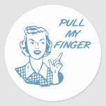 Pull My Finger Retro Housewife Blue Stickers