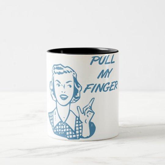 Pull My Finger Retro Housewife Blue Two-Tone Coffee Mug