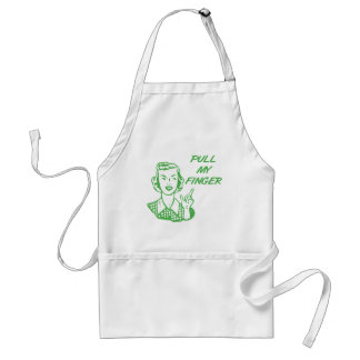 Pull My Finger Retro Housewife Green Adult Apron