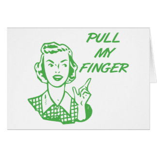 Pull My Finger Retro Housewife Green Greeting Card