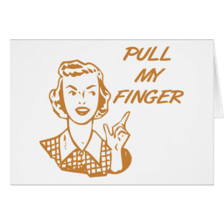 Pull My Finger Retro Housewife Orange Greeting Card