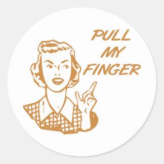 Pull My Finger Retro Housewife Orange Classic Round Sticker
