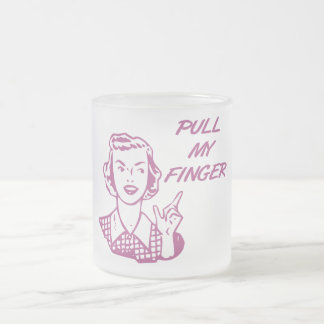 Pull My Finger Retro Housewife Pink 10 Oz Frosted Glass Coffee Mug