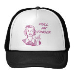 Pull My Finger Retro Housewife Pink Mesh Hats