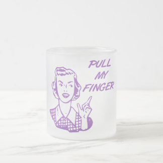 Pull My Finger Retro Housewife Purple 10 Oz Frosted Glass Coffee Mug
