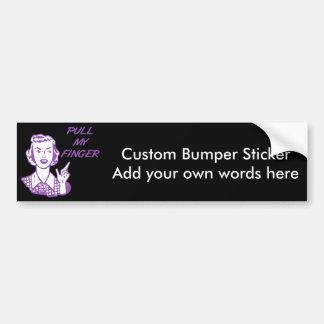 Pull My Finger Retro Housewife Purple Car Bumper Sticker