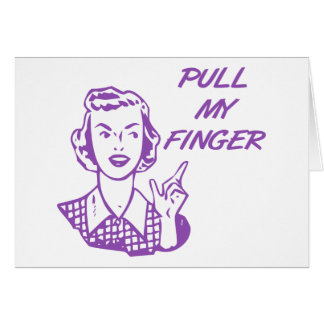 Pull My Finger Retro Housewife Purple Greeting Card