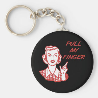 Pull My Finger Retro Housewife Red Basic Round Button Keychain