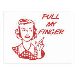 Pull My Finger Retro Housewife Red Post Cards
