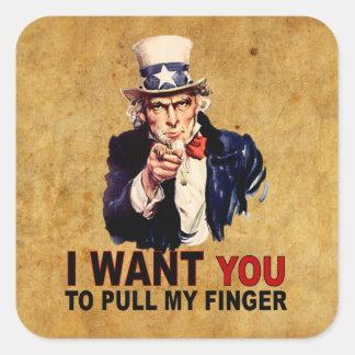 Pull My Finger Square Sticker