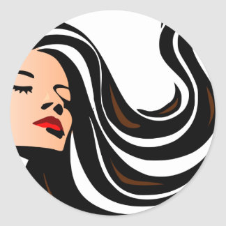 Pull my hair back. classic round sticker