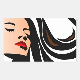 Pull my hair back. rectangular sticker