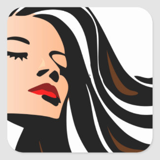 Pull my hair back. square sticker