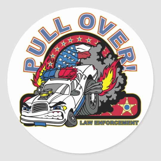 Pull Over Cop Car Classic Round Sticker