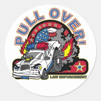 Pull Over Cop Car Round Sticker