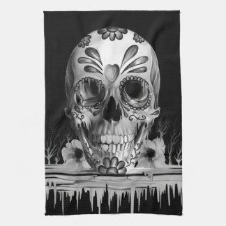 Pulled sugar, melting sugar skull kitchen towel