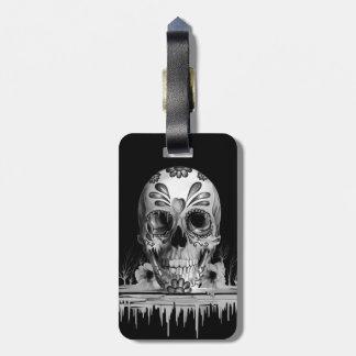 Pulled sugar, melting sugar skull travel bag tag