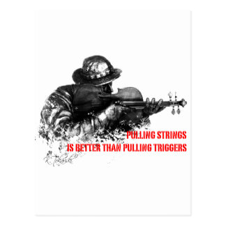 Pulling strings violin postcard