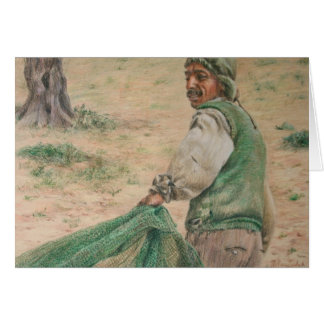 Pulling the Olive Net Greeting Card