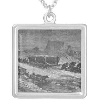 Pulling the sledges through the pack ice silver plated necklace