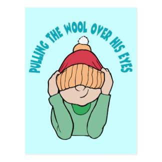 Pulling The Wool Over His Eyes ~ Word Play Postcard