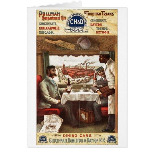 Pullman dining car on train 1894 card