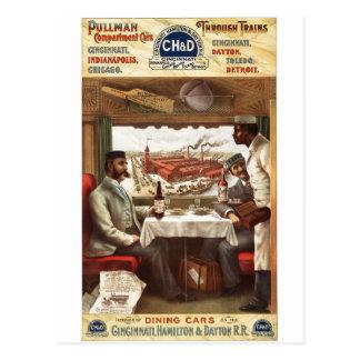 Pullman dining car on train 1894 postcards
