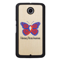 Pulmonary Fibrosis Awareness Butterfly Carved Wood Google Nexus 6 Case