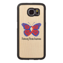 Pulmonary Fibrosis Awareness Butterfly Carved Wood Samsung Galaxy S6 Case