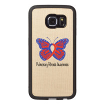 Pulmonary Fibrosis Awareness Butterfly Carved Wood Samsung Galaxy S6 Edge Case