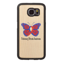 Pulmonary Fibrosis Awareness Butterfly Wood Phone Case
