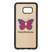 Pulmonary Fibrosis Awareness Butterfly Wood Samsung Galaxy S6 Edge Case