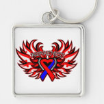 Pulmonary Fibrosis Awareness Heart Wings.png Key Chain