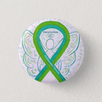 Pulmonary Fibrosis Awareness Ribbon Angel Button