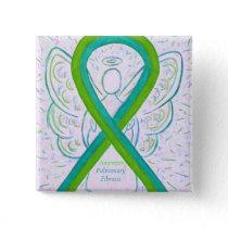 Pulmonary Fibrosis Awareness Ribbon Angel Button