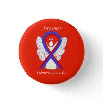 Pulmonary Fibrosis Awareness Ribbon Angel Buttons