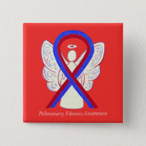 Pulmonary Fibrosis Awareness Ribbon Angel Buttons