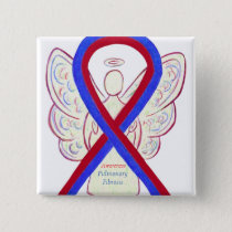 Pulmonary Fibrosis Awareness Ribbon Angel Pin