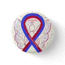 Pulmonary Fibrosis Awareness Ribbon Angel Pins