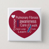 Pulmonary Fibrosis Awareness Square Button