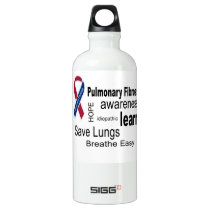 Pulmonary Fibrosis Awareness Water Bottle. Aluminum Water Bottle