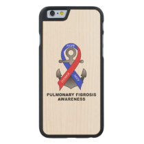 Pulmonary Fibrosis Awareness with Anchor of Hope Carved Maple iPhone 6 Case