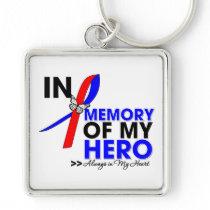 Pulmonary Fibrosis Tribute In Memory of My Hero Keychain