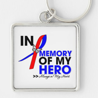 Pulmonary Fibrosis Tribute In Memory of My Hero Silver-Colored Square Keychain