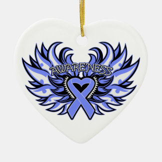 Pulmonary Hypertension Awareness Heart Wings Ceramic Ornament