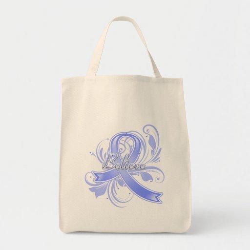 Pulmonary Hypertension Believe Flourish Ribbon Grocery Tote Bag