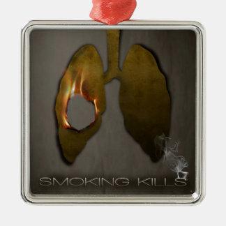 Pulmones de las matanzas que fuman ornaments para arbol de navidad