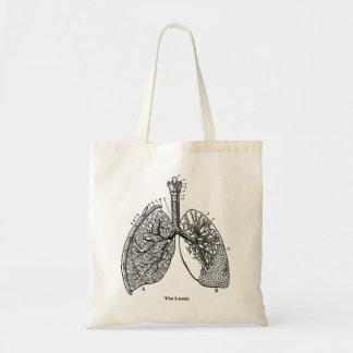 Pulmones médicos del vintage de la anatomía retra  bolsa tela barata